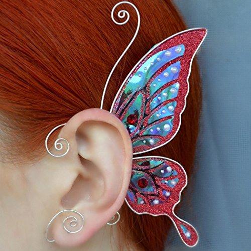 (Butterfly Earrings Butterfly Wings Ear Cuff Fabulous Swarovski Crystal Earring Fairy Ear Cuffs Gewelry Butterfly Transparent Rainbow Clear)