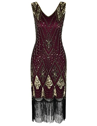 PrettyGuide Women 1920s 1920s Gatsby Cocktail Sequin Art Deco Flapper Dress M Gold Burgundy -