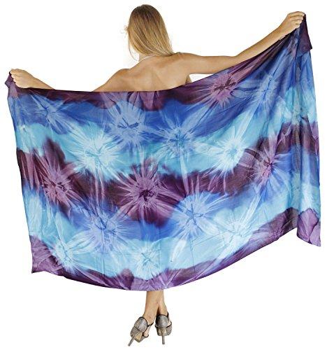LA LEELA Rayon Long Swim Dress Beach Wear  Sarong Tie Dye 78