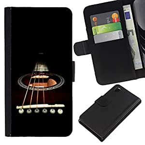 A-type (Minimalista Guitarra y Cuerdas) Colorida Impresión Funda Cuero Monedero Caja Bolsa Cubierta Caja Piel Card Slots Para Sony Xperia Z3 D6603