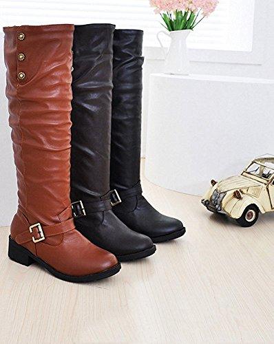 Maybest Dames Dames Platte Biker Vouw Over School College Vintage Hoge Laarzen Schoenen Bruin