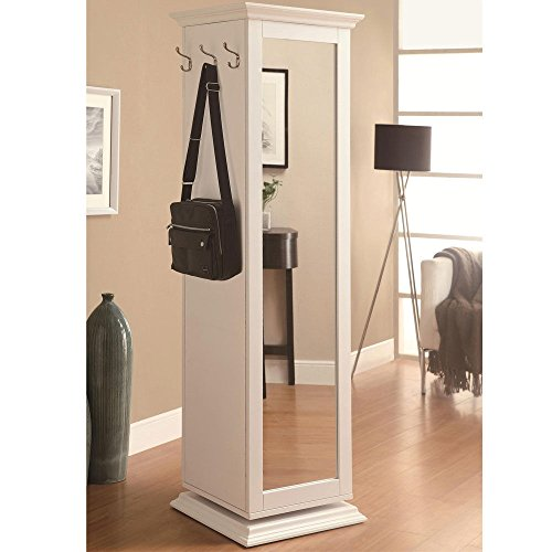1PerfectChoice Accent White Swivel Tall Storage Cabinet w/ Cork Board Mirror Coat Rack Shelves by 1PerfectChoice