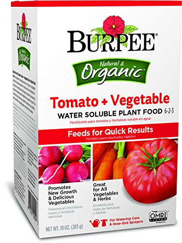 Burpee 99974 Organic Tomato and Vegetable Water Soluble Plant Food, 10 oz, Brown
