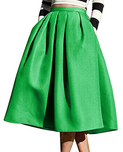 Round Pleated Skirt (Roundshop Women's Vintage A-Line High Waisted Flare Pleated Midi Skirt Green L)
