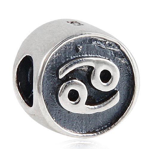 Everbling Zodiac Cancer Sign 925 Sterling Silver Bead Fits Pandora European Charm Bracelets