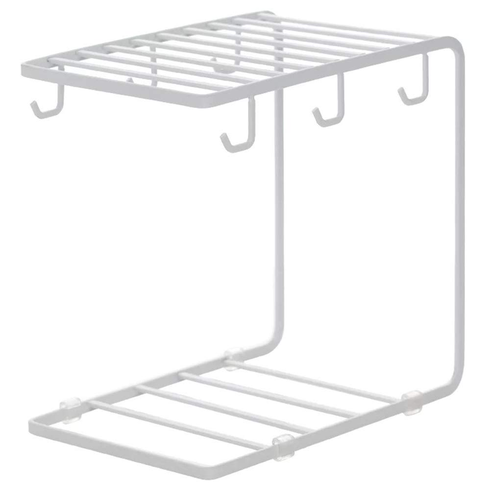 7U Metal Coffee Mug Cup Holder Organizer Stand for Cabinet, Counter, Desk | Kitchen Drying Display Rack with 6 Hooks for Large Mug - 9.5 x 9.1Inch (White)