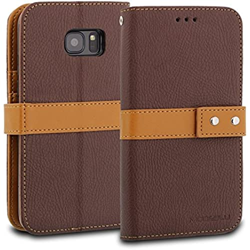 Galaxy S7 Case, ModeBlu [Journal Case Series] [Brown] Wallet Case ID Credit Card Cash Slots Premium Canvas [Stand Sales