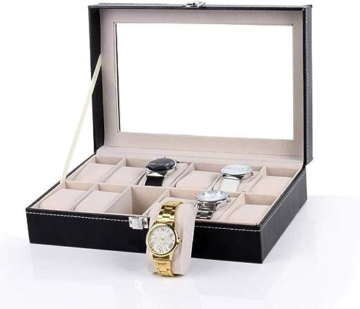 GOVD Estuche para Relojes con Piel Sintética Estuche para Guardar Relojes para Guardar Relojes, Negro C: Amazon.es: Hogar