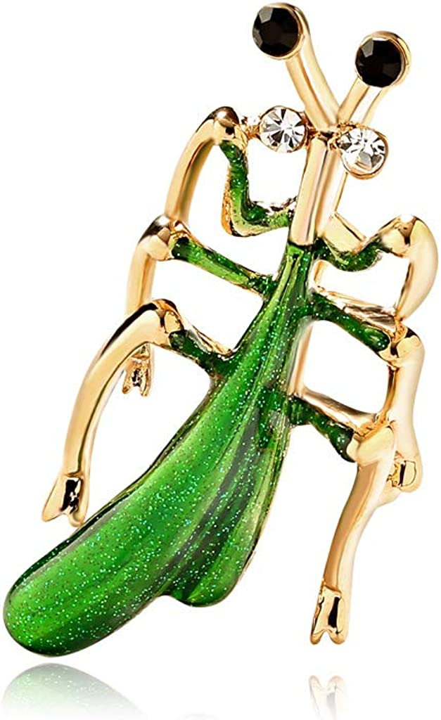 FoxLegend Temperament Insect Praying Mantis Brooch Alloy Diamond Drop Oil Brooch