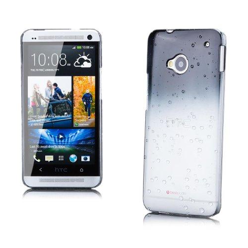 HTC One M7 | iCues gota de agua Caso Negro | Transparente lámina protectora de la piel Claro Claro protectora transparente de protección [protector de pantalla, incluyendo] Cubierta Cubierta Funda Car Negro