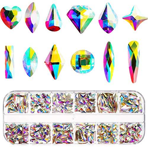 Nail Crystals AB 240 Pieces Nail Art Flat Back Rhinestones Gems Mixed Nail Diamond Stone for Nail Art Clothes Shoes Bags Crafts (240 Mix Shape) - Faceted Mixed Shape