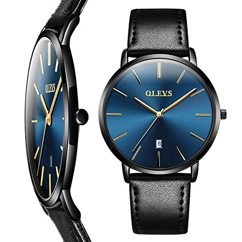 - OLEVS Brand Men's Watches Luxury Men Sport Wristwatch Waterproof 30m Comfortable Leather Watches Ultrathin Quartz Watch Classic Calendar Date Wrist Watch Blue