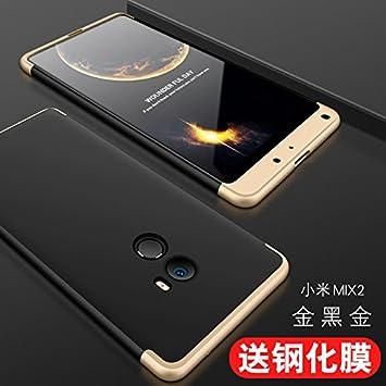 hyujia Compatible Xiaomi Mix 2 Funda(2018) Carcasa 360° Ultra Fina Protectora cojín+Vidrio Templado Pantalla Protector,3 in 1 PC Hard Caja Caso Skin ...