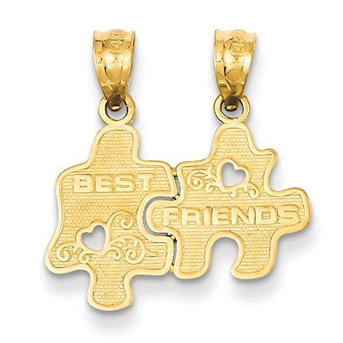 Or 14ct Best Friends Puzzle break-apart Pendentif-Dimensions 20,6x 18.8mm