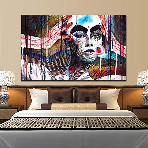 Cartel de Arte Abstracto y Lienzo de Alta definición, Arte de Pared, Pintura Abstracta Colorida, decoración de Sala de Estar, decoración, Cuadro de Bruja, Pintura sin Marco 60X90 cm