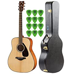 The Yamaha FG800 Natural Folk Guitar is the standard acoustic model with quality sound and a traditional design. This solid-top guitar has authentic, balanced sound with robust strength, due to the scalloped bracing. The FG is louder a...