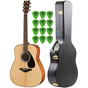 Yamaha FG800 Natural Folk Guitar with Knox Hard Shell Acoustic Guitar Case & Guitar Picks (12-Pack)