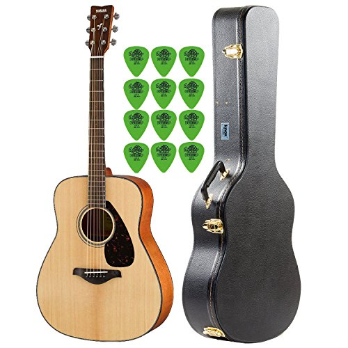 (Yamaha FG800 Natural Folk Guitar with Knox Hard Shell Acoustic Guitar Case & Guitar Picks (12-Pack))