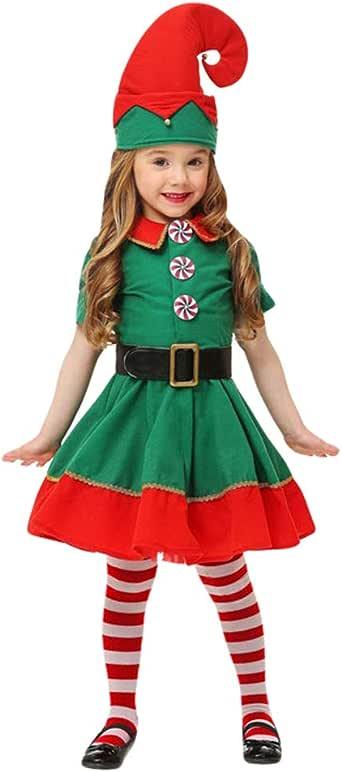 JEELINBORE Disfraz de Elfo, Unisexo Adultos Niños Disfraz