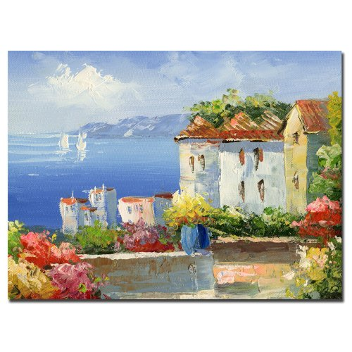 Mediterranean Villa by Master's Art, 26x32-Inch Canvas Wall Art