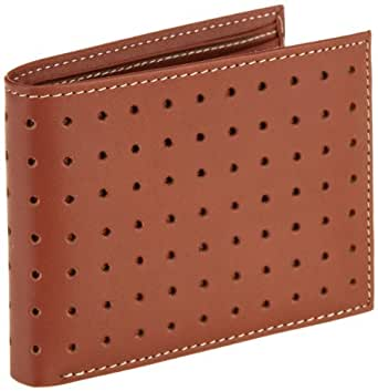 Joseph Abboud Men's Perforated Leather Passcase Wallet, Cognac, One Size