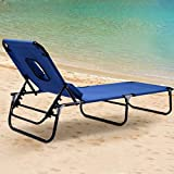 G Chaise Lounge Chair Outdoor Folding Bed Patio Beach Camping Recliner w/Hole for Face Pool Yard, Support 300 Lbs