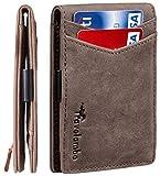 Travelambo Mens RFID Blocking Front Pocket Minimalist Slim Genuine Leather Wallet Pull Tab Money...