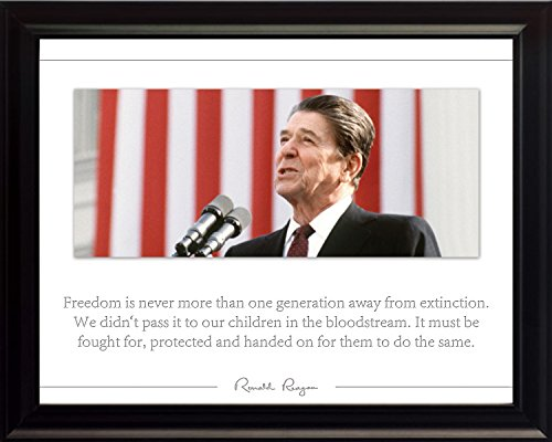 WeSellPhotos Ronald Reagan Poster Photo Picture Framed Quote Freedom US President Portrait Famous Inspirational Quotes Motivational Posters (8x10 Framed)