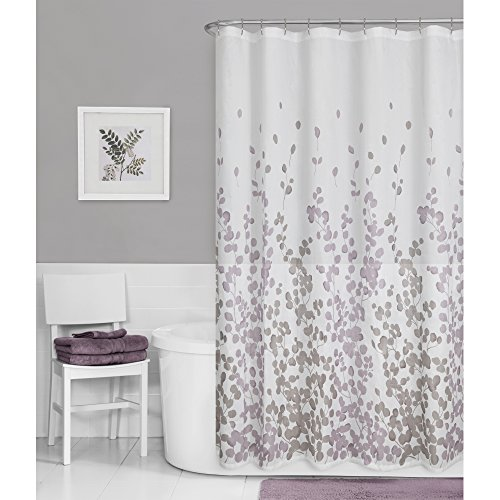 Amazon Maytex Sylvia Printed Faux Silk Fabric Shower Curtain Purple Home Kitchen
