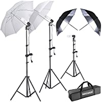 Neewer 600W 5500K Umbrella and Stand Kit Includes: (2)White and (2)Black/Silver Umbrella, (2)6 feet and(1)1.6 feet Light Stand, (3)45W Bulb, (3)Light Holder and (1)Carry Case for Studio Photography