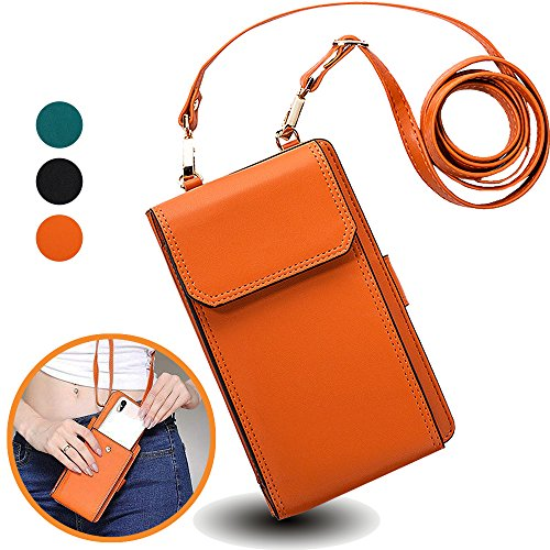 "iPhone 7Plus Wallet Case with Cross Body Strap,Auker Women Universal Cellphone Flip Leather Zipper Wallet Pouch Purse Case with 10 Card Holder/4Money Pockets for iPhone&Samsung fit up to 5.5"" (Brown)"
