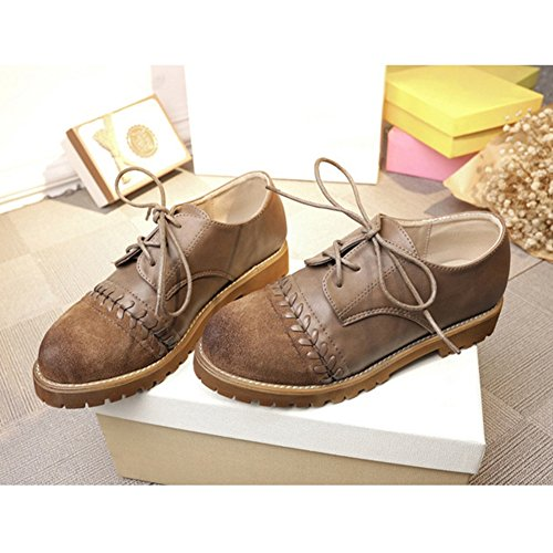 Comfortable Khaki Non Toe Shoes Women GIY for Square Casual Shoes Up Vintage Lace Slip Oxford xYz0Y