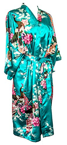 CC Collections Kimono 16 Colours Premium Version Free 1st Class UK Shipping Dressing Gown Robe Lingerie Night wear Dress Bridesmaid Hen Night (Blue - Print Top Dragon Oriental