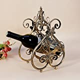 Techtongda Vintage Retro Wine Rack Metal Bottle Stand Holder Table Bar Decor Homeware(item# 020003)