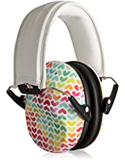 Muted Designer Hearing Protection for Infants & Kids - Adjustable Children's Ear Muffs from Toddler to Teen - Rainbow Hearts