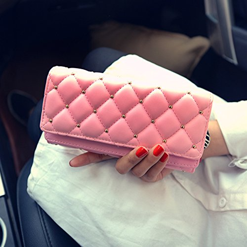 VRLEGEND Clutch Purse Handbag Evening Bag Women Leather Wallet Purses Party (Pink)