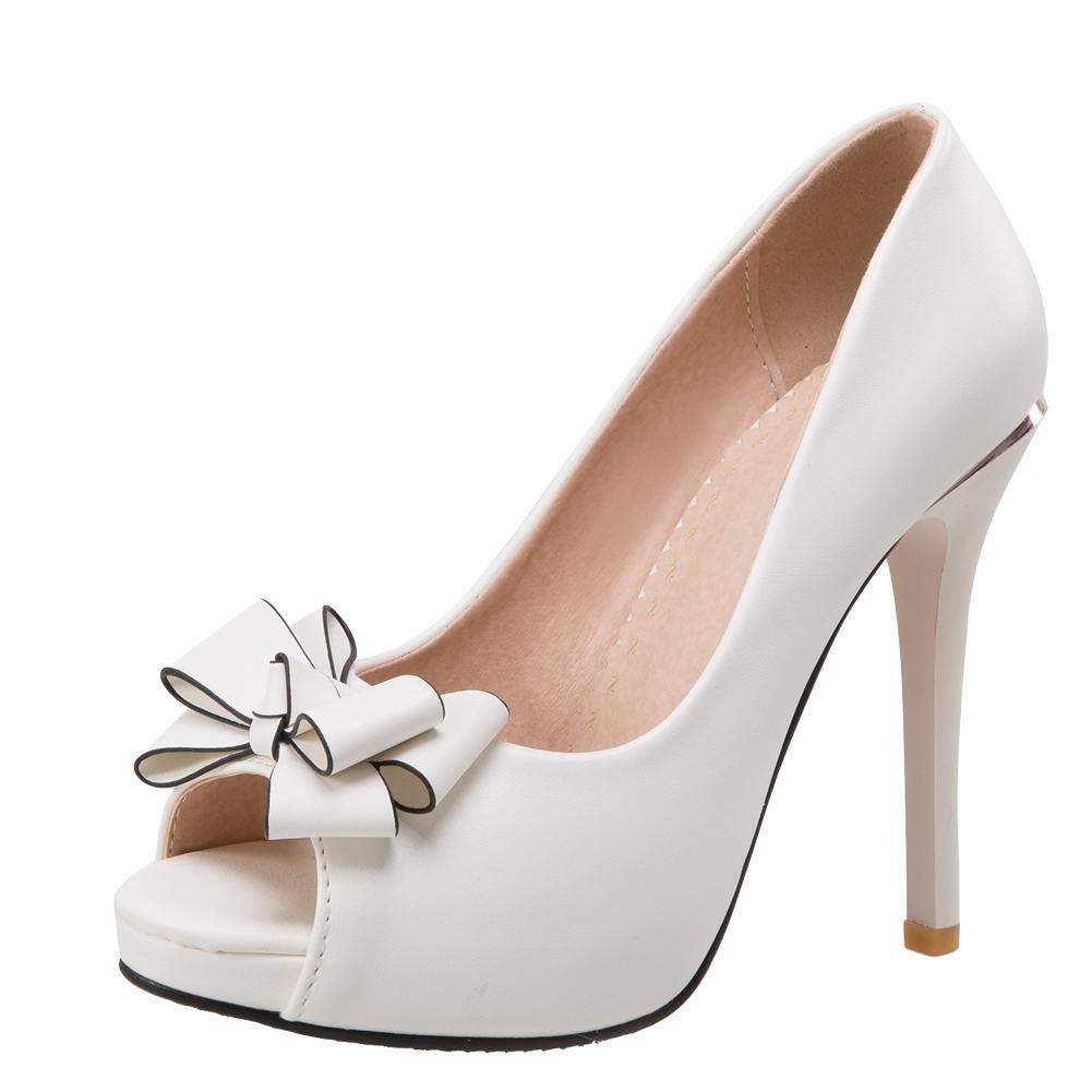 MissSaSa Donna Sandali Peep Toe High-Heel Platform Elegantebianco