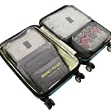 Travel Packing Cube Luggage Organizers Bag Lightweight Clothes Storage Secret Pouches Set of 6