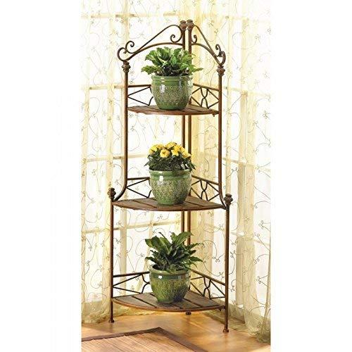 Racks Rustic Corner Baker'S Rack Metal Wood Plants Display Shelf Baker Shelves by 25 Home Decor