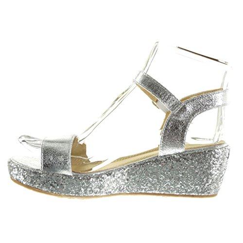 Angkorly - damen Schuhe Sandalen Mule - Plateauschuhe - String Tanga - glitzer - glänzende Keilabsatz high heel 6 CM - Silber
