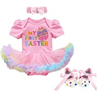 78d92a5acf2 Fairy Baby Newborn Baby Girl Easter Dress Cotton 3 4pcs My 1st Easter  Outfit Bunny