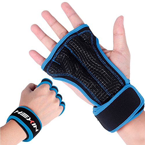HEXIN Cross Training Gloves with Wrist Support for Fitness,WOD,Weightlifting,Pull-ups,Gym Workout,Powerlifting - Silicone Padding Against Calluses -Suits for Men & Women