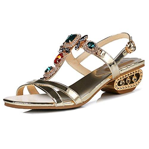 GIY Women's Block Low Mid Heel Open Toe Sparkling Glitter Rhinestone Wedding Party Dress Sandal