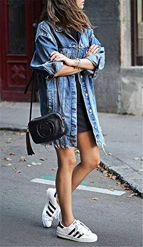 Jacket Denim Style Con Ragazze Blu Fashion Manica Outerwear Eleganti Strappato Cappotto tasca Primaverile Lunga Giaccone Multi Sciolto Moda Festa Button Jeans Giacca Donna Bavero Autunno qwIx0zFq