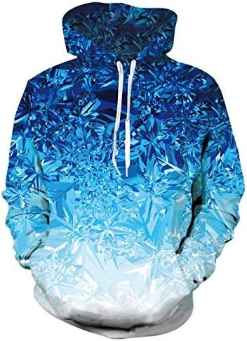 Idgreatim Women Men three-D Graphic Velvet Hoodie Novelty Long Sleeve Pullover Sweatshirt Jackets with Pockets S-3XL
