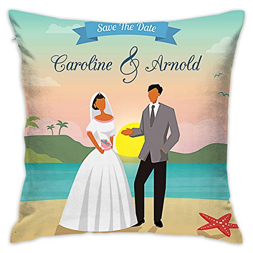 BINGZHAO Beach Wedding Save The Date 18 X 18 Inch Cushion Cover Throw Pillowcase for Couch