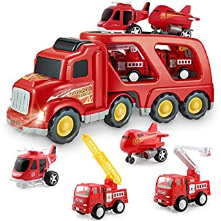 Fire Truck Car Toys Set, Friction Powered Car Carrier Trailer with Sound and Light, Play Vehicle Set for Kids Toddlers Boys Child Gift Age 3 4 5 6 7 Years Old, 2 Rescue Car, Helicopter, Plane
