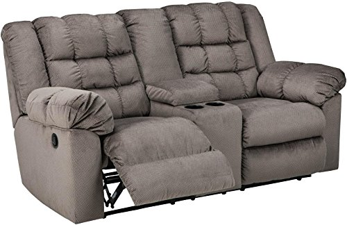 Ashley Furniture Signature Design -Mort Reclining Loveseat - Manual Reclining Couch - Contemporary Style - Charcoal