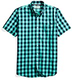 Goodthreads Men's Standard-Fit Short-Sleeve Heathered Scale Check Shirt, Teal/Navy, Large