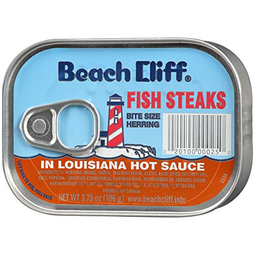 BEACH CLIFF Sardines in Louisiana Hot Sauce, Wild Caught, High Protein Food, Keto Food and Snacks, Gluten Free Food, High Protein Snacks, Canned Food, Bulk Sardines, 3.75 Ounce Cans (Pack of 18)